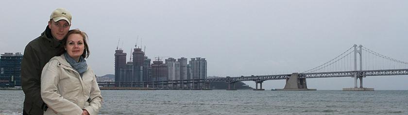 Lautalla yli Koreansalmen Busaniin