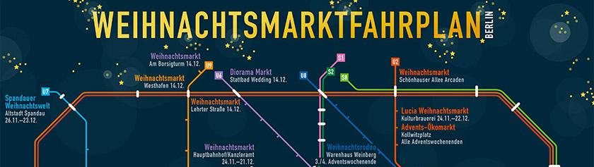 Kartta Berliinin joulumarkkinoista