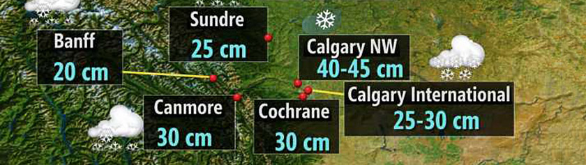 Paksu lumi peitti Calgaryn